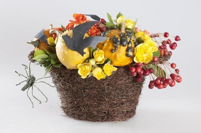 flower pumpkin centerpieces halloween  floral centerpiece spider bats