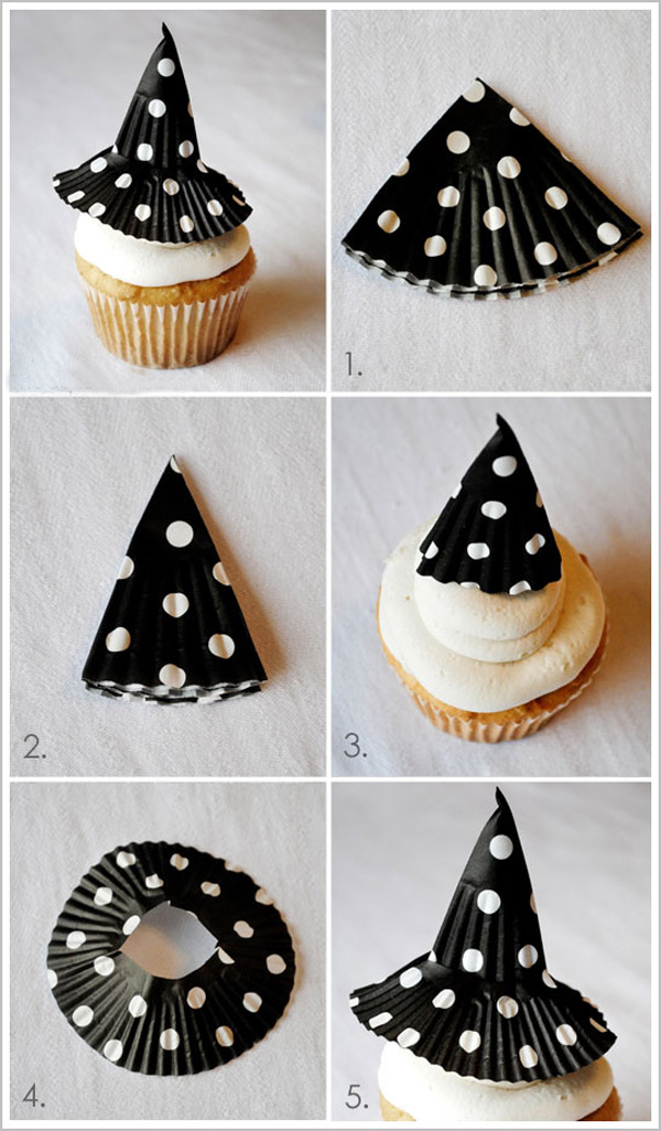 halloween cupcake decorations witch hat paper - Decorating Cupcakes For Halloween