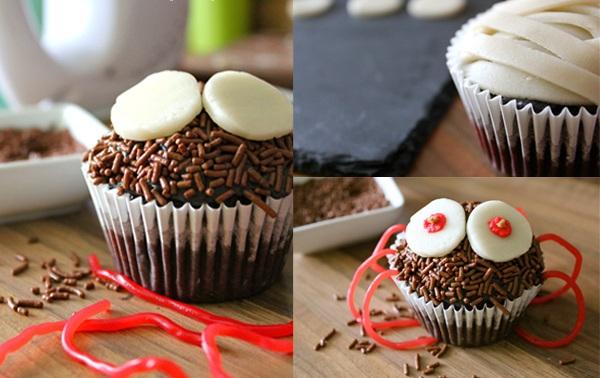 halloween cupcake spider chocolate sprinkles legs