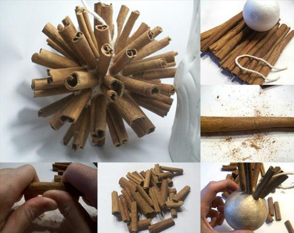 homemade christmas tree ornaments cinnamon sticks foam ball
