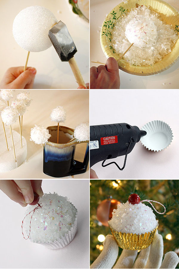 homemade christmas tree ornaments crafts foam ball cupcakes