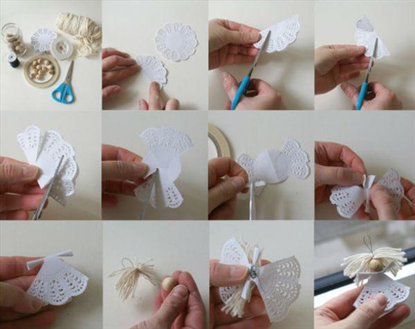 homemade christmas tree ornaments doilies angel diy idea