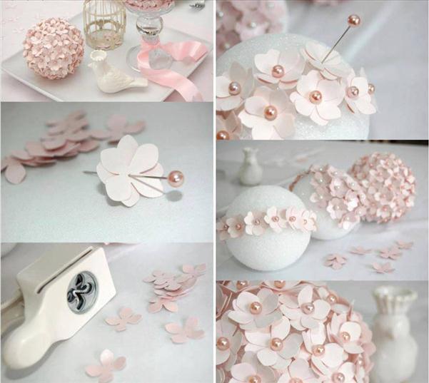 homemade-christmas-tree-ornaments-paper-flowers-pins-foam-ball -