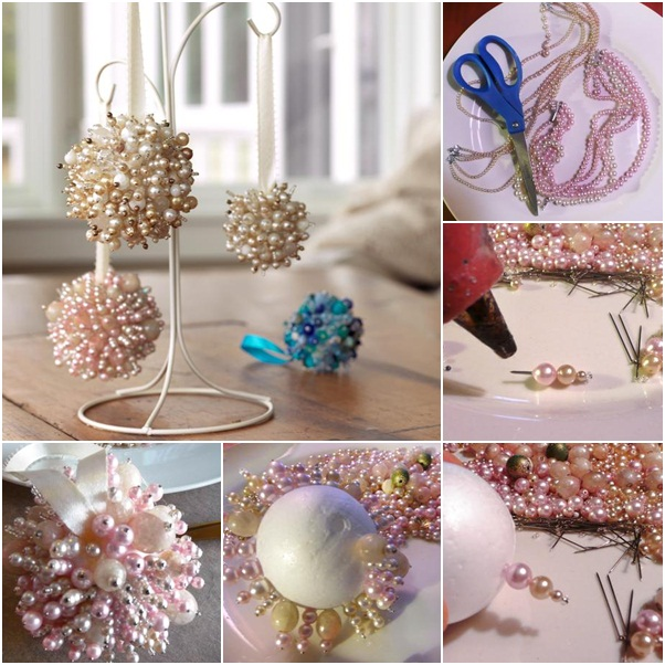 homemade christmas tree ornaments pearls foam ball instructions