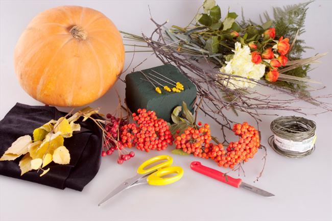 how to make flower pumpkin fall centerpiece supplies instructions