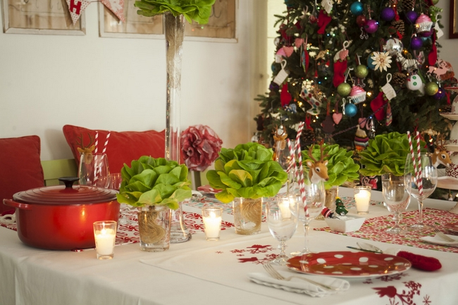 Captivating Christmas Dinner Table Decorations Lettuce Instead Flowers