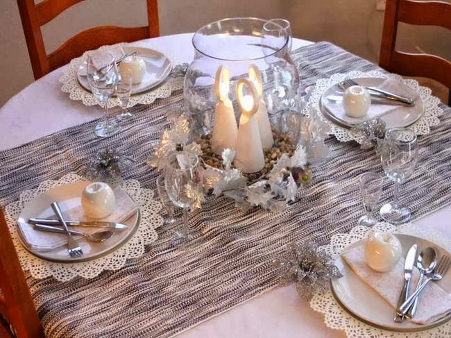 Christmas dinner table setting white silver decor doilies