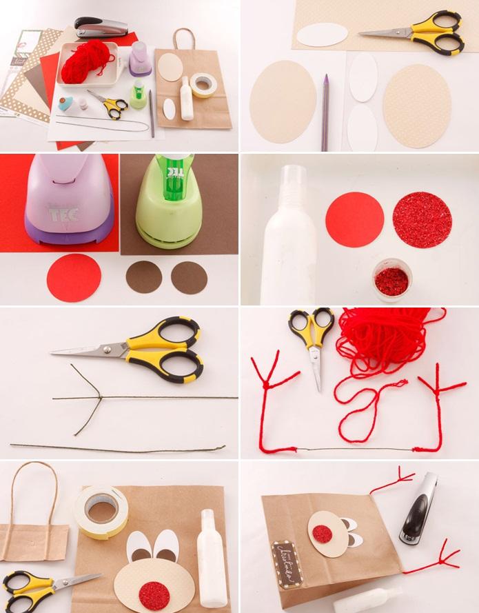 christmas gift wrap ideas handmade gift bag paper reindeer face