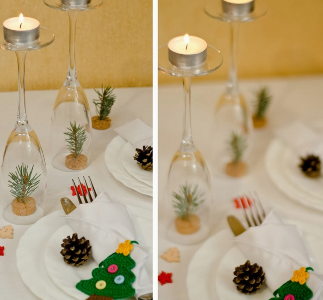 Cork pieces and fir branches mini christmas trees Diy christmas table decorations
