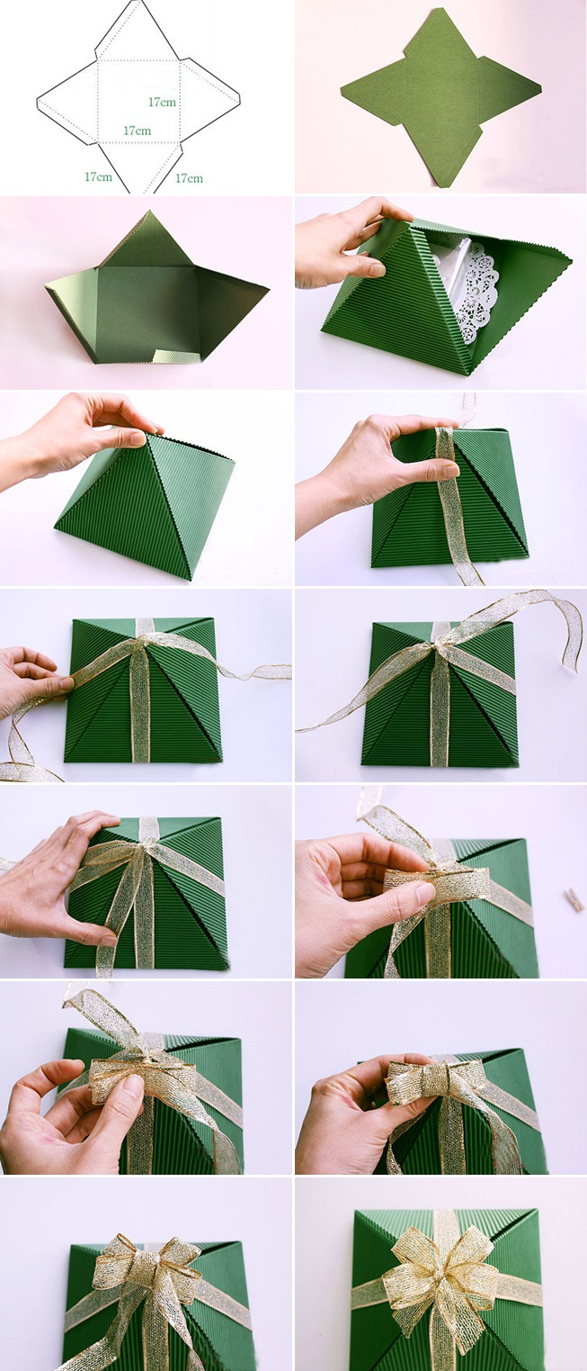 creative christmas gift wrap tutorial paper pyramid gold bow