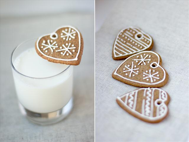 cute christmas treats heart shaped gingerbread cookies milk