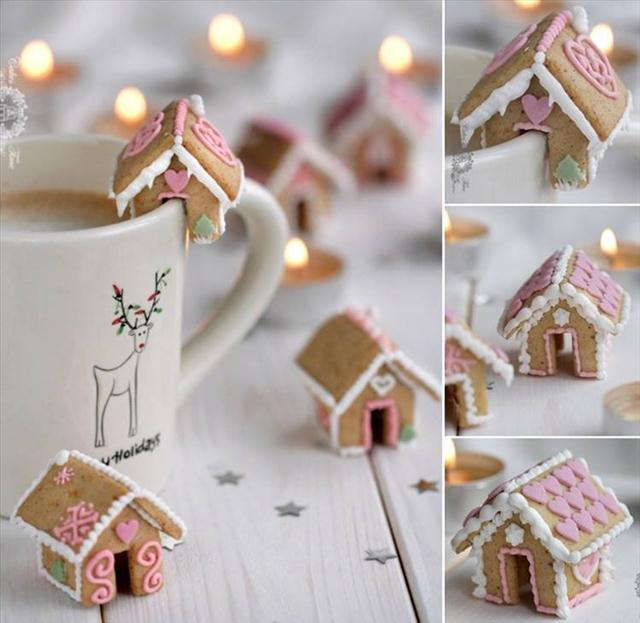 cute christmas kids mini gingerbread house hot chocolate