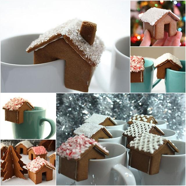 cute christmas treats mini gingerbread houses hot chocolate decor
