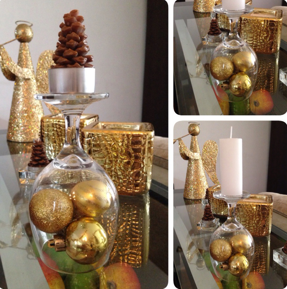 Diy christmas decorations gold ornaments under wine glass for Glass home decor