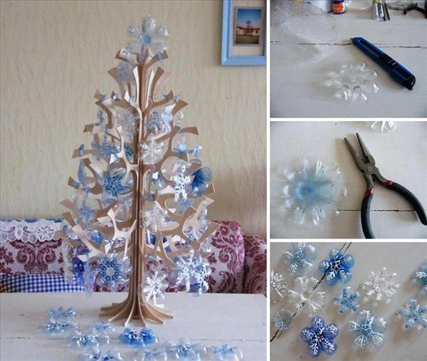 diy christmas decorations plastic bottle snowflakes