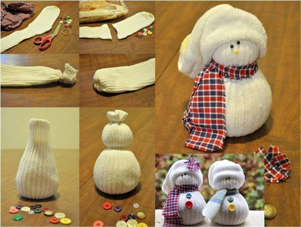 diy christmas decorations winter crafts snowmen made socks