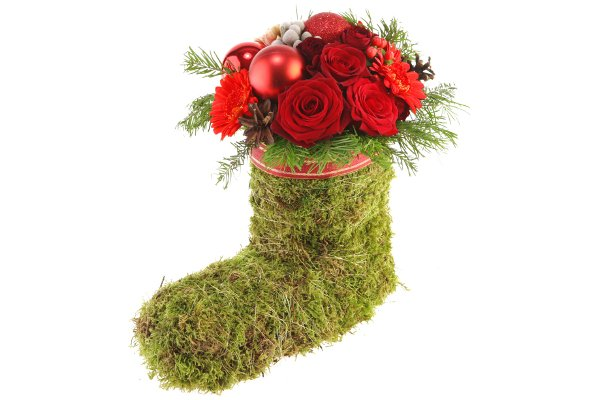 diy-christmas-gift-idea-fresh-flowers-plants-arrangement-handmade-stocking-piaflor-red-ribbon