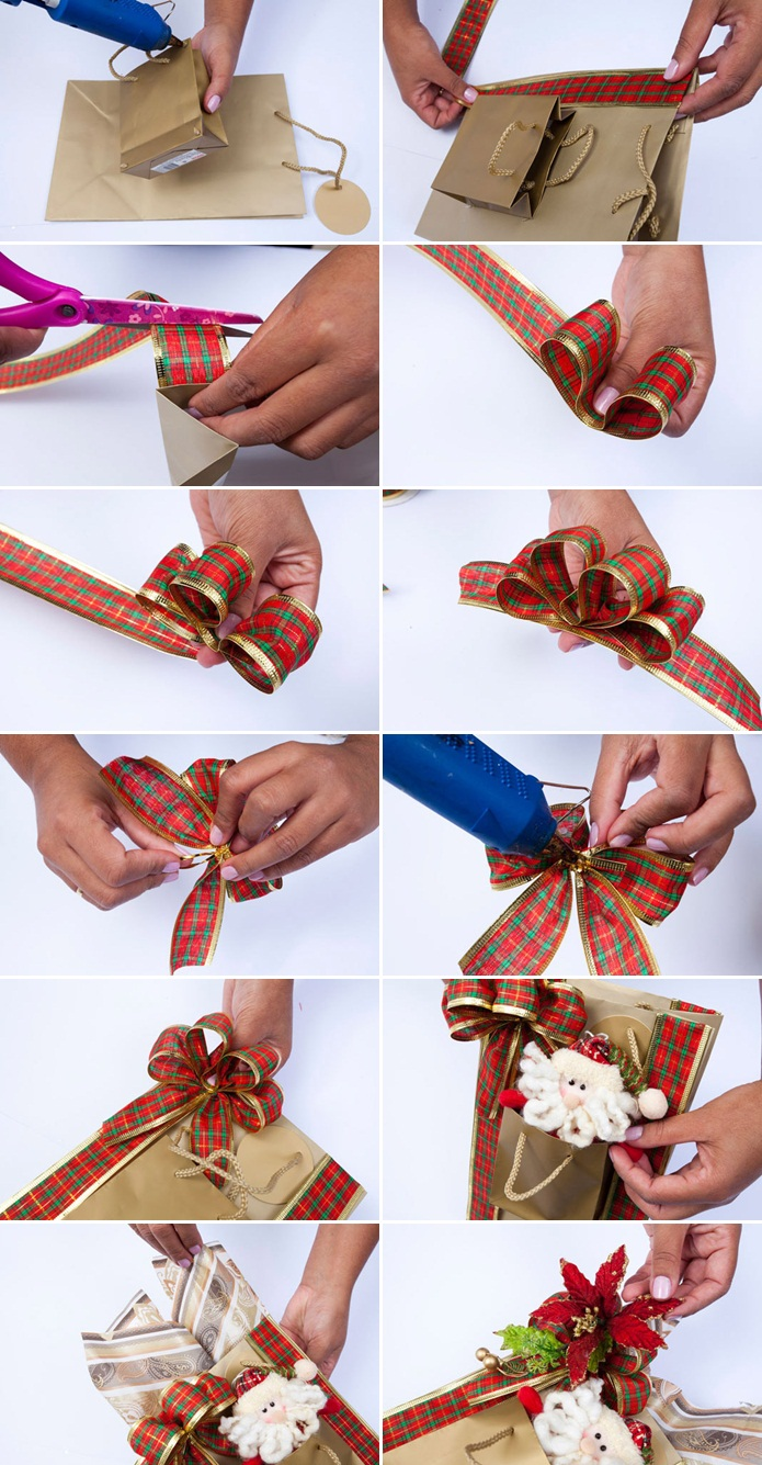 diy-christmas-gift-wrap-ideas-bags-santa-red-ribbon-poinsettia -
