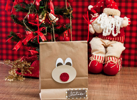 handmade christmas gift wrap ideas paper bag reindeer face