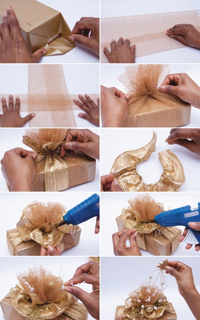 DIY Christmas gift wrap ideas - Handmade bows, gift bags ...