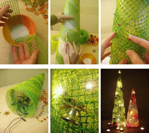 diy christmas home decorations tree mesh christmas lights