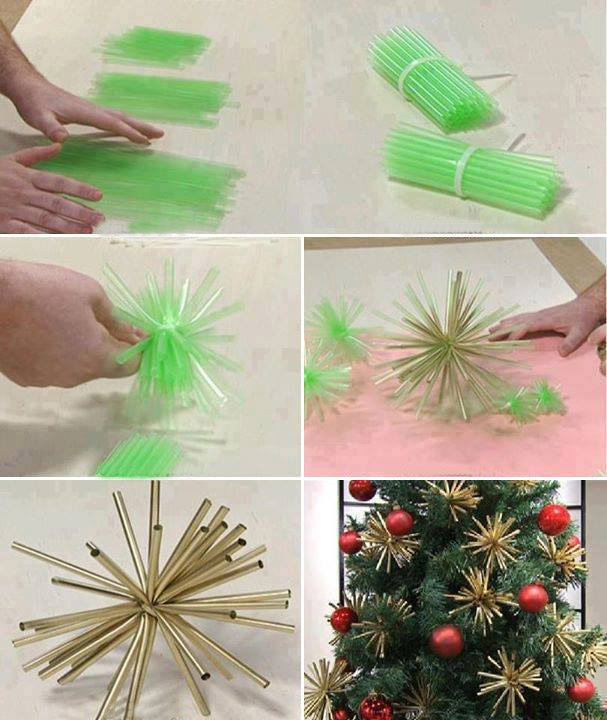 diy christmas ornaments gold decorations stars drinking straws