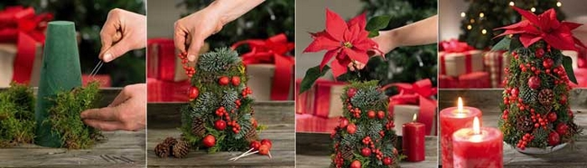 Christmas Tree Shaped Floral Foam Evergreens Red Berries