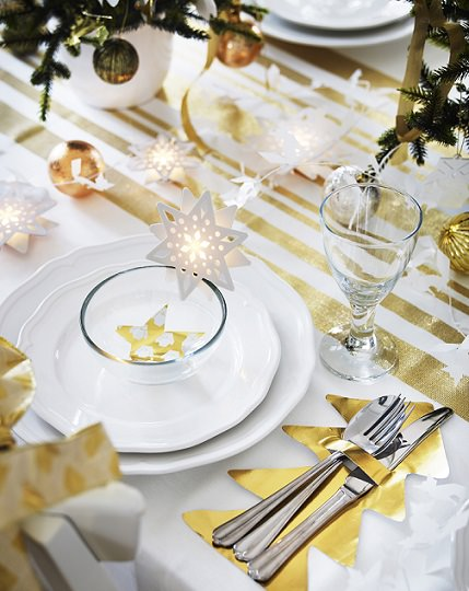 diy christmas table decor gold paper tree cutlery