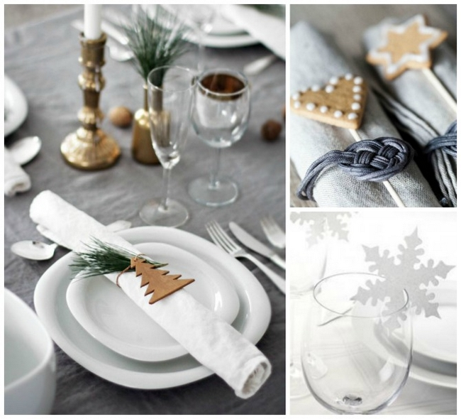 diy christmas table decor napkin rings snowflake wine - Diy Christmas Table Decorations