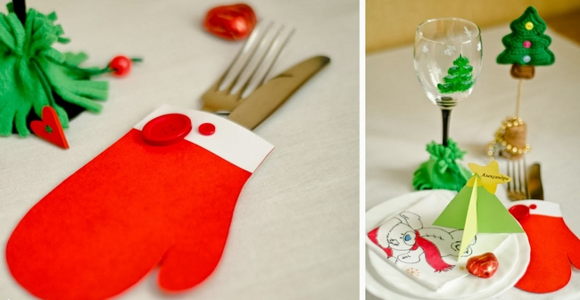 diy christmas table decor paper mittens cutlery holders - Diy Christmas Table Decorations