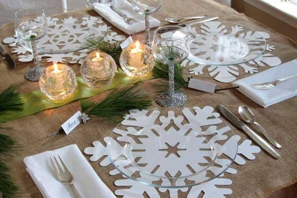Winter Table Decorations Snowflake Photograph