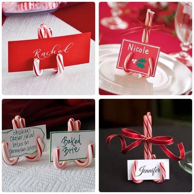 diy christmas table decor table card holders candy - Easy Christmas Table Decorations Ideas