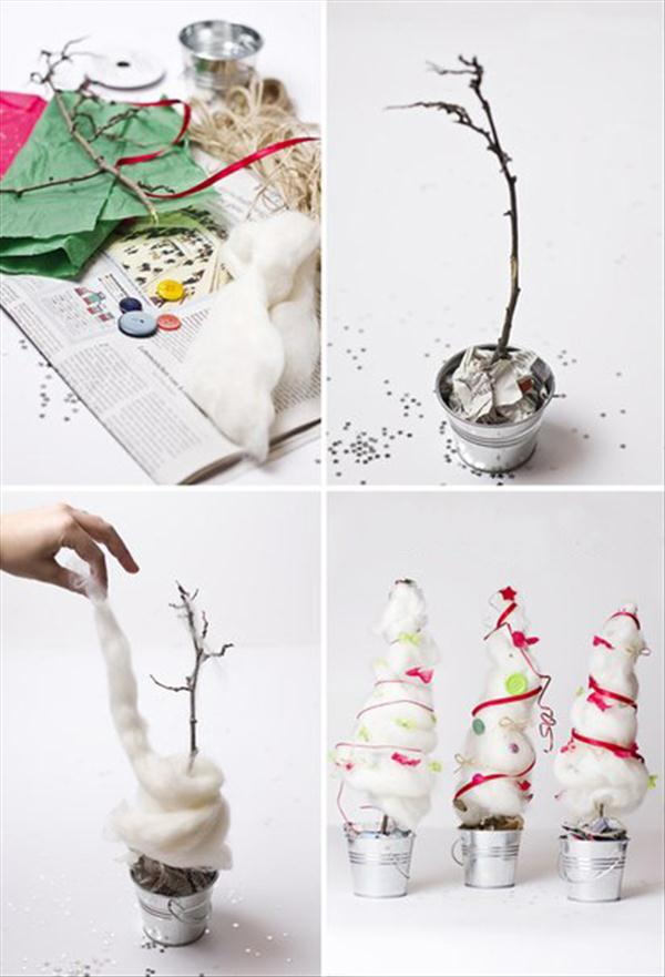 diy christmas tree cotton mini bucket branch