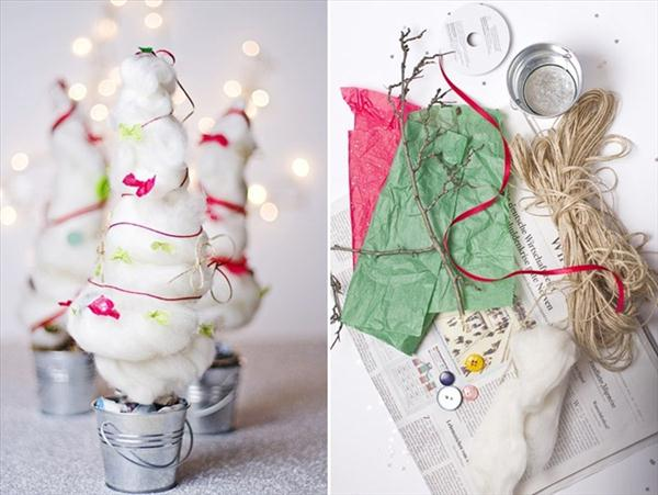 diy christmas trees idea cotton ribbons