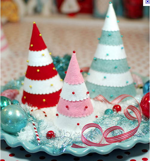 diy felt christmas trees ideas stripes pins