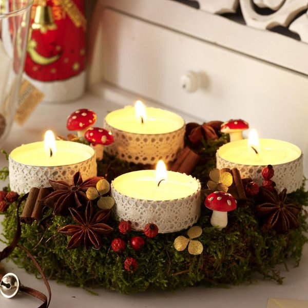 Diy festive candle centerpiece christmas table lace idea