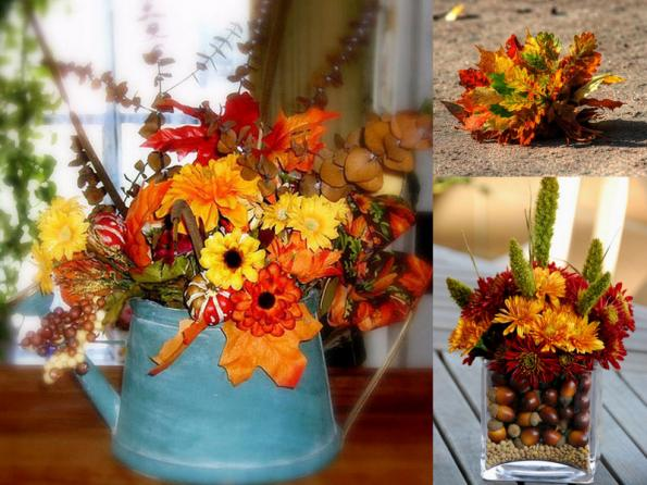 diy-thanksgiving-centerpieces-bouquets-fall-flowers-leaves -