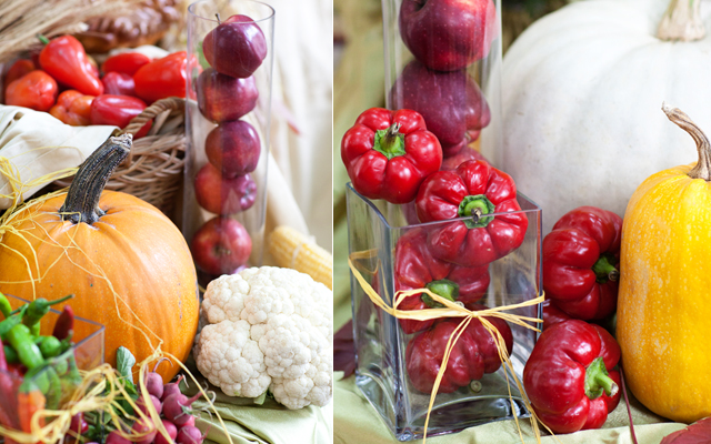 diy thanksgiving centerpieces pumpkin paprika glass vase