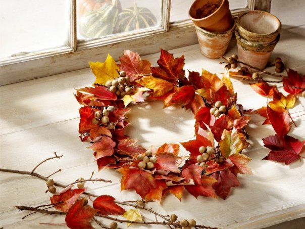 Diy thanksgiving decorations fall leaves branches wreath