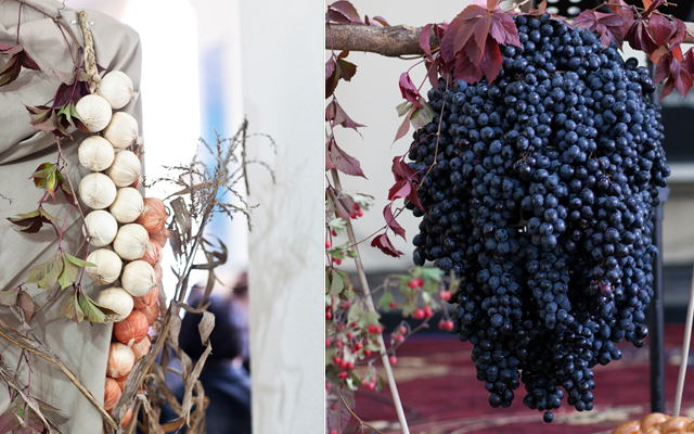 diy thanksgiving decorations garlic grapes nature fall abundance