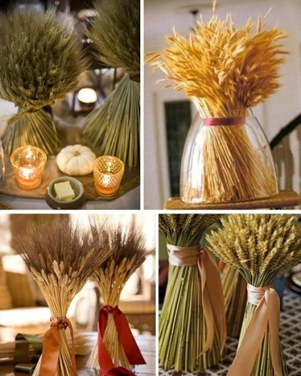 diy thanksgiving decorations wheat stalks bundle candles
