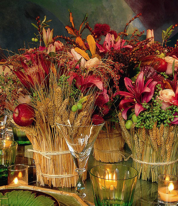 diy thanksgiving table decorations wheat stalks flowers candles