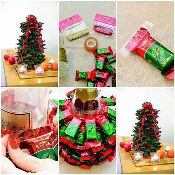 edible christmas trees idea wine bottle chocolates