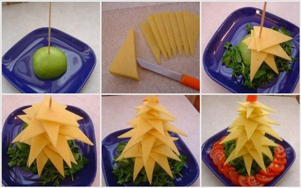 edible christmas trees ideas yellow cheese
