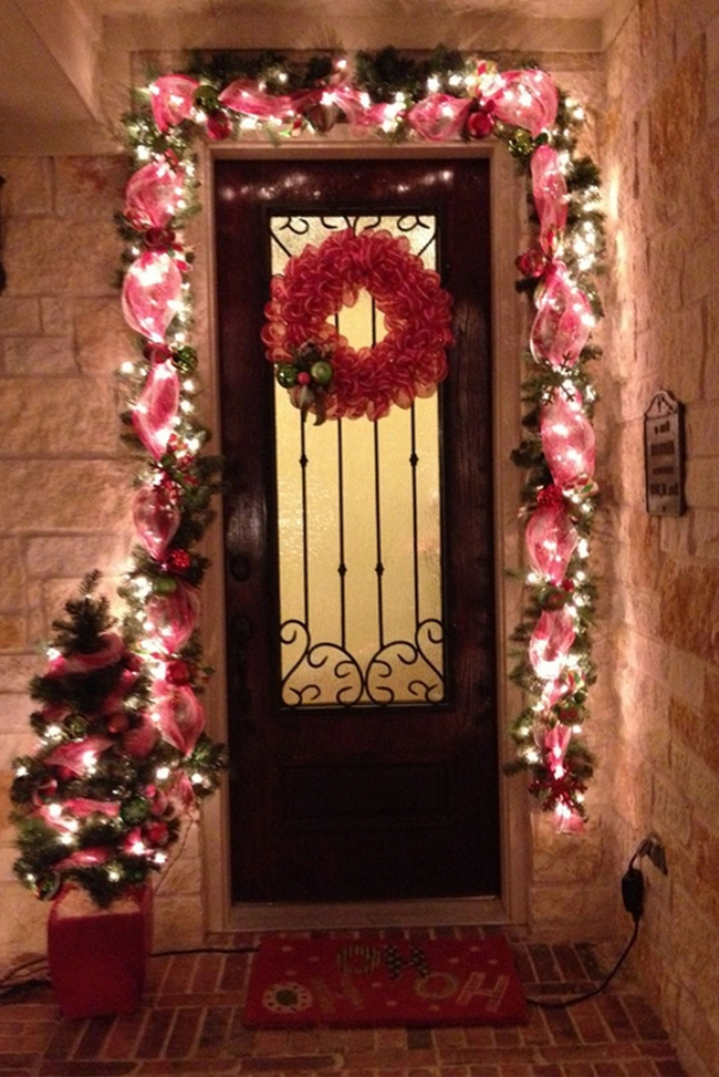 front door christmas decoration ideas red gardlands wreath