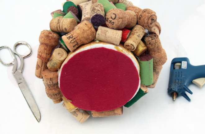 handmade-Christmas-trees-styrofoam-cone-red-felt-circle-wine-corks