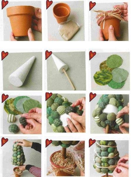 Handmade christmas tree topiary green balls foam Handmade christmas items