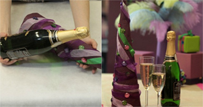 handmade-christmas-trees-champagne-bottle-paper-cone