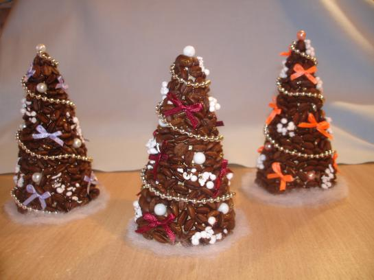 handmade christmas trees coffee beans beads ribbons