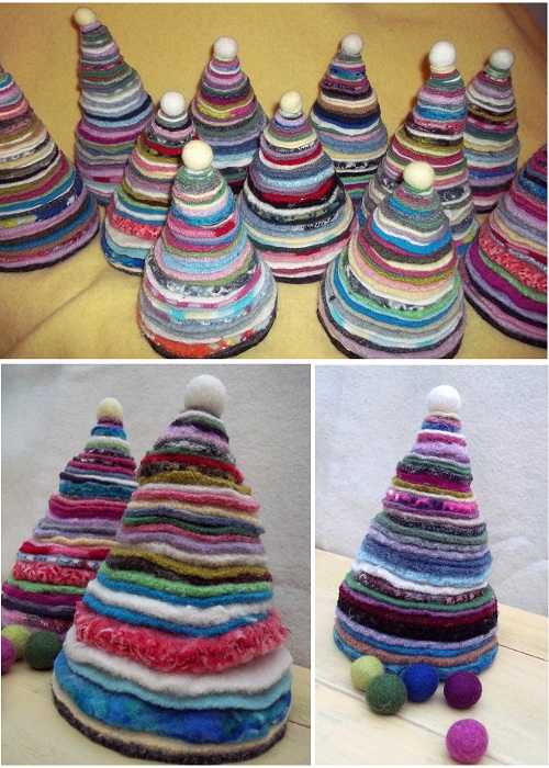 handmade christmas trees felt pieces colourful
